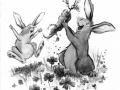 bunnies carrot b&w